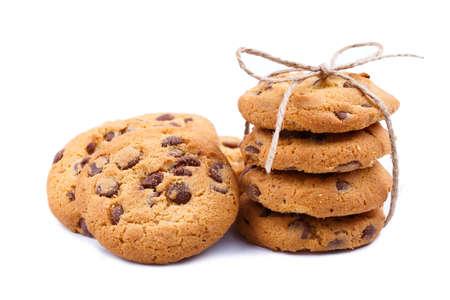 galleta de chocolate: Las cookies aislados en un fondo blanco. Foto de archivo