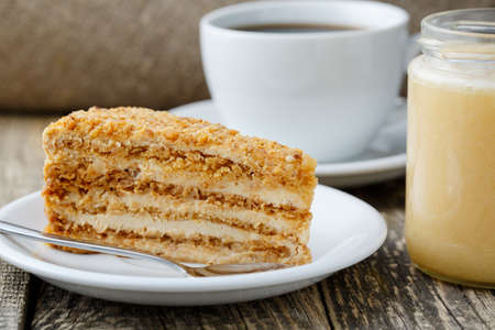 honey cake: Delicious slice of honey cake Stock Photo
