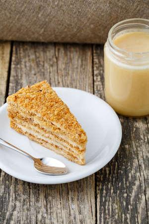 honey cake: Delicious slice of honey cake on wooden background.