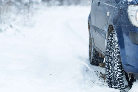 tyre tread: Car tires on winter road.