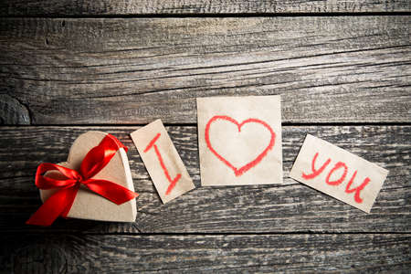 love declaration: Declaration of love and a gift on valentines day.
