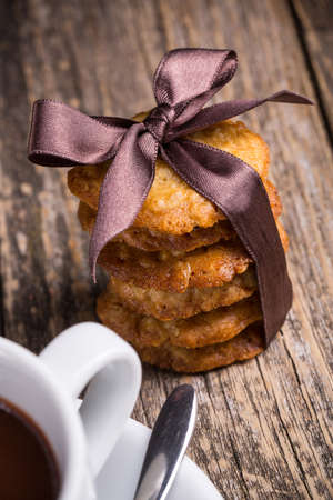 satin ribbon: Tasty homemade oat cookies in satin ribbon.