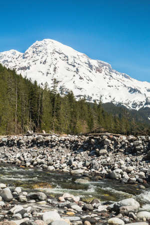 mount rainier: Bottom view of Mount Rainier with riverbed in spring.