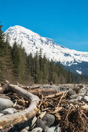 Bottom view of Mount Rainier with riverbed in spring.
