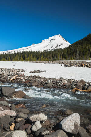 mt  hood national forest: Beautiful nature of creek near the Mountain Hood and forest. Stock Photo
