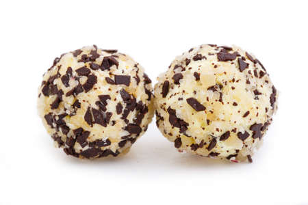 truffe blanche: Vegetarian truffle candies isolated on white background.