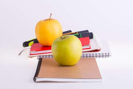 School stationery on white background. Stock Photo