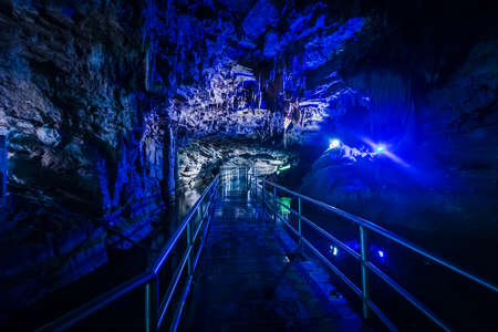 Big colorful cave with stalactite and brigde in China