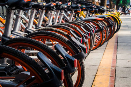 Travel style with bicycle in city center.
