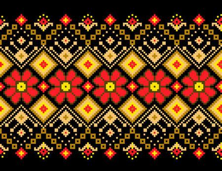 punto cruz: Ilustración vectorial de ornamento ucraniano