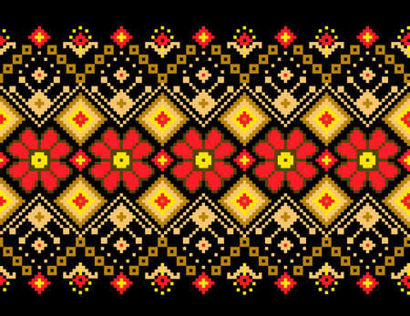embroidery on fabric: Vector illustration of ukrainian pattern ornament Illustration