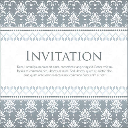 Vector invitation card with damask pattern