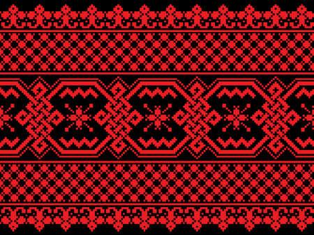 punto cruz: Ilustración vectorial de ornamento popular sin fisuras