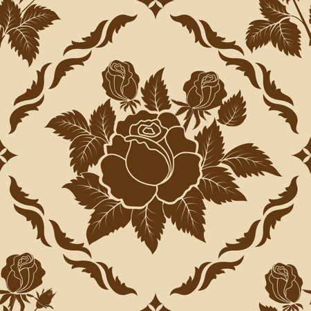 rose: Vector flower damask pattern element