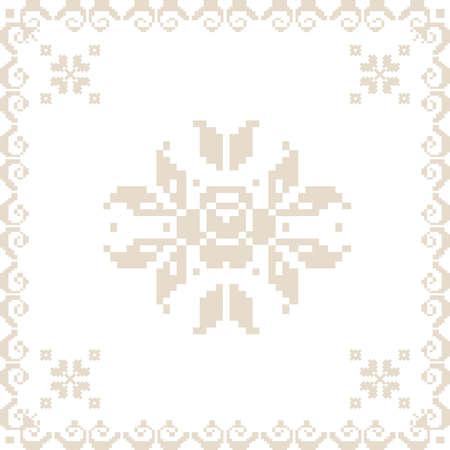 punto cruz: Ilustración vectorial de ucraniano elemento sin fisuras ornamento
