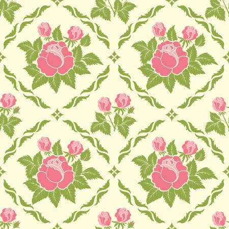 Vector flower damask pattern background