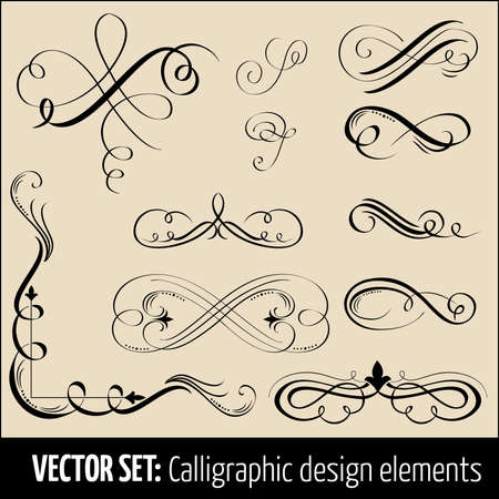 page divider: Vector set of calligraphic design elements and page decoration