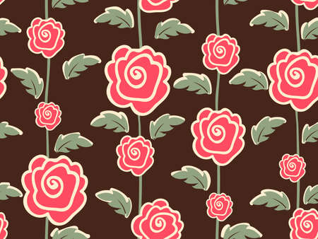 60s fashion: Vector flower seamless pattern element