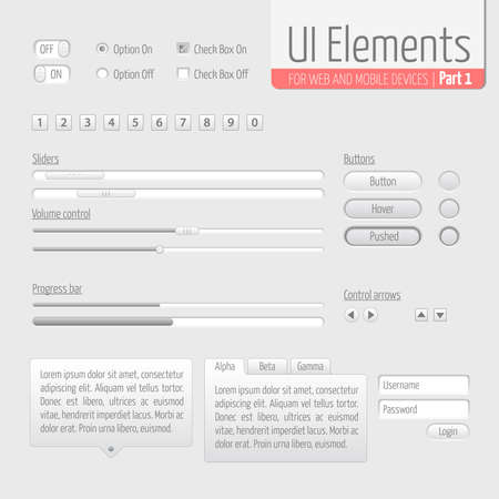Light UI Elements Part 1  Sliders, Progress bar, Buttons, Authorization form, Volume control etc  Stock Vector - 16162077