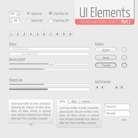 message box: Light UI Elements Part 1  Sliders, Progress bar, Buttons, Authorization form, Volume control etc  Illustration