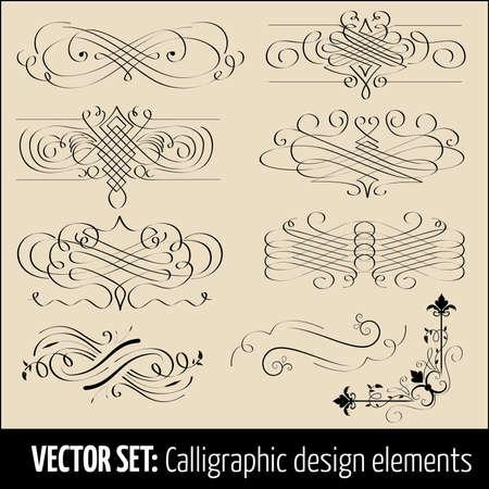 Vector set van kalligrafische ontwerpelementen en pagina decoratie