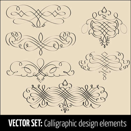Vector set of calligraphic design elements and page decoration Stock Vector - 16161851