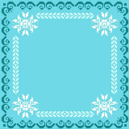 punto cruz: Ilustración vectorial de ornamento ucraniano patrón nacional Vectores