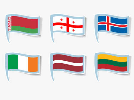 Vector flags of Ireland, Lithuania, Latvia, Iceland, Georgia, Belarus Stock Vector - 16161861