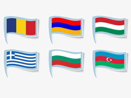 azerbaijan: Vector flags of Armenia, Azerbaijan, Bulgaria, Hungary, Greece, Romania