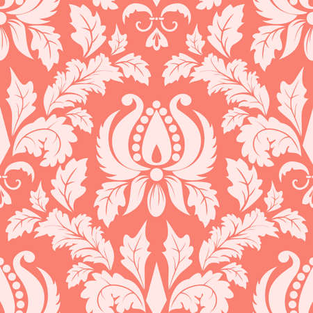 coral: Vector damask seamless pattern element Illustration