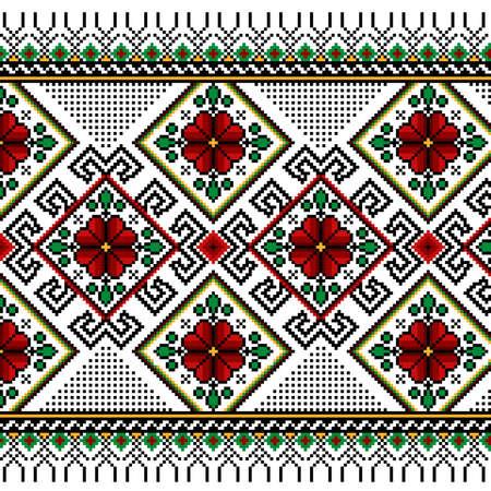 Illustrazione vettoriale di ornamento senza soluzione di continuità ucraino