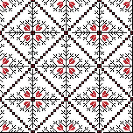 punto cruz: Ilustraci�n vectorial de ornamento ucraniano nacional seamless pattern