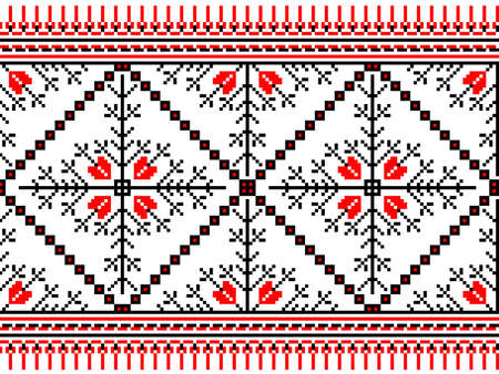embroider: Vector illustration of ukrainian seamless pattern ornament