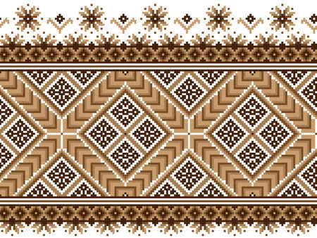 embroidery on fabric: Vector illustration of ukrainian national pattern ornament