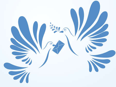 Vector doves with mail and spray Vector
