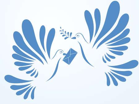 Vector duiven met mail en spuiten