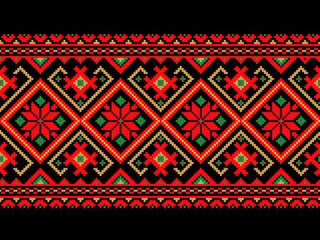 Vector illustratie van Oekraïense naadloze patroon ornament Stock Illustratie