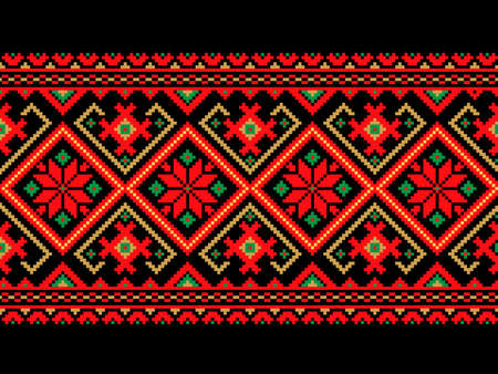 embroidery on fabric: Vector illustration of ukrainian seamless pattern ornament