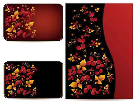 hohloma: Vector cards and folder with hohloma pattern Illustration