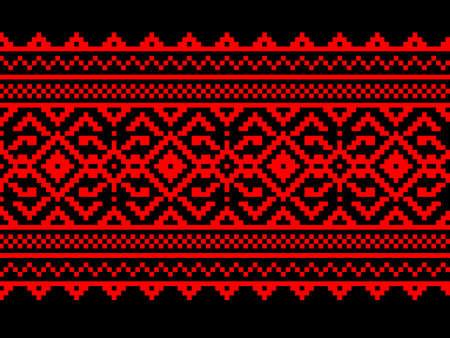 punto cruz: Ilustraci�n vectorial de ornamento ucraniano patr�n transparente Vectores