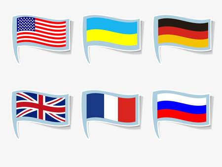 Vector flags of England, France, Germany, Russia, Ukraine, USA Vector Illustration