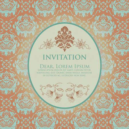 Invitation or wedding card with damask background and elegant floral elements  Pastel color