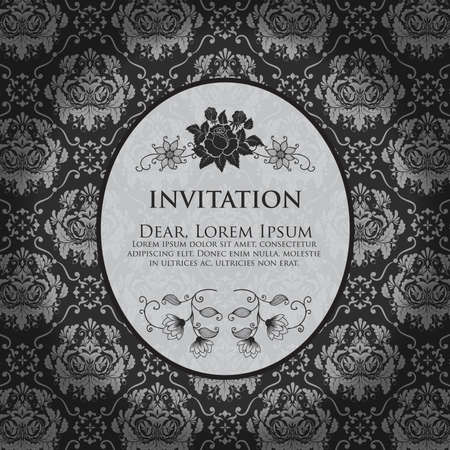 Invitation or wedding card with damask background and elegant floral elements  Black and white