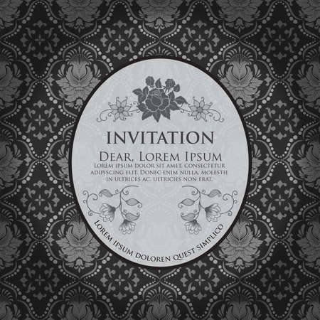 Invitation or wedding card with damask background and elegant floral elements  Black and white Vector