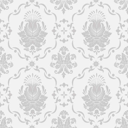 gray texture background: Vector damask seamless pattern background Illustration