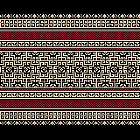 cross stitch: Ilustraci�n vectorial de ornamento ucraniano patr�n transparente Vectores