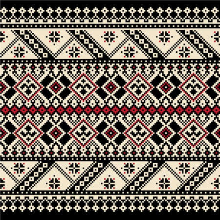 punto cruz: Ilustración vectorial de ornamento ucraniano patrón transparente Vectores