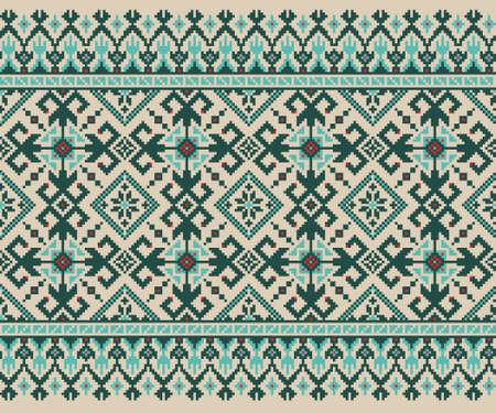 punto cruz: Ilustración del vector del popular ucraniano patrón sin fisuras ornamento ornamento étnico
