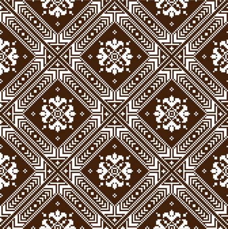 cross stitch: Ilustraci�n del vector del popular ucraniano patr�n sin fisuras ornamento ornamento �tnico