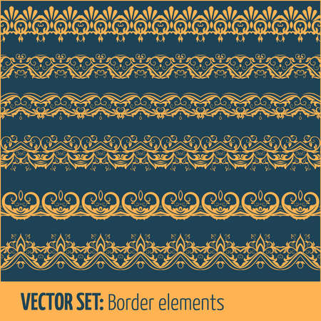Vector set of border elements and page decoration elements.